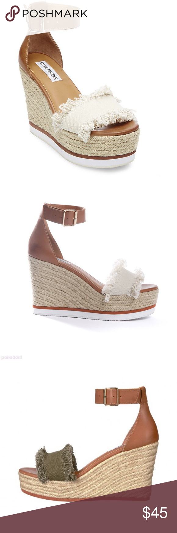 468e2cf91ab Steve Madden Valley Wedge Sandal Olive Beige Price As Shown Not Open To Any  Offers Steve Madden Shoes Wedges