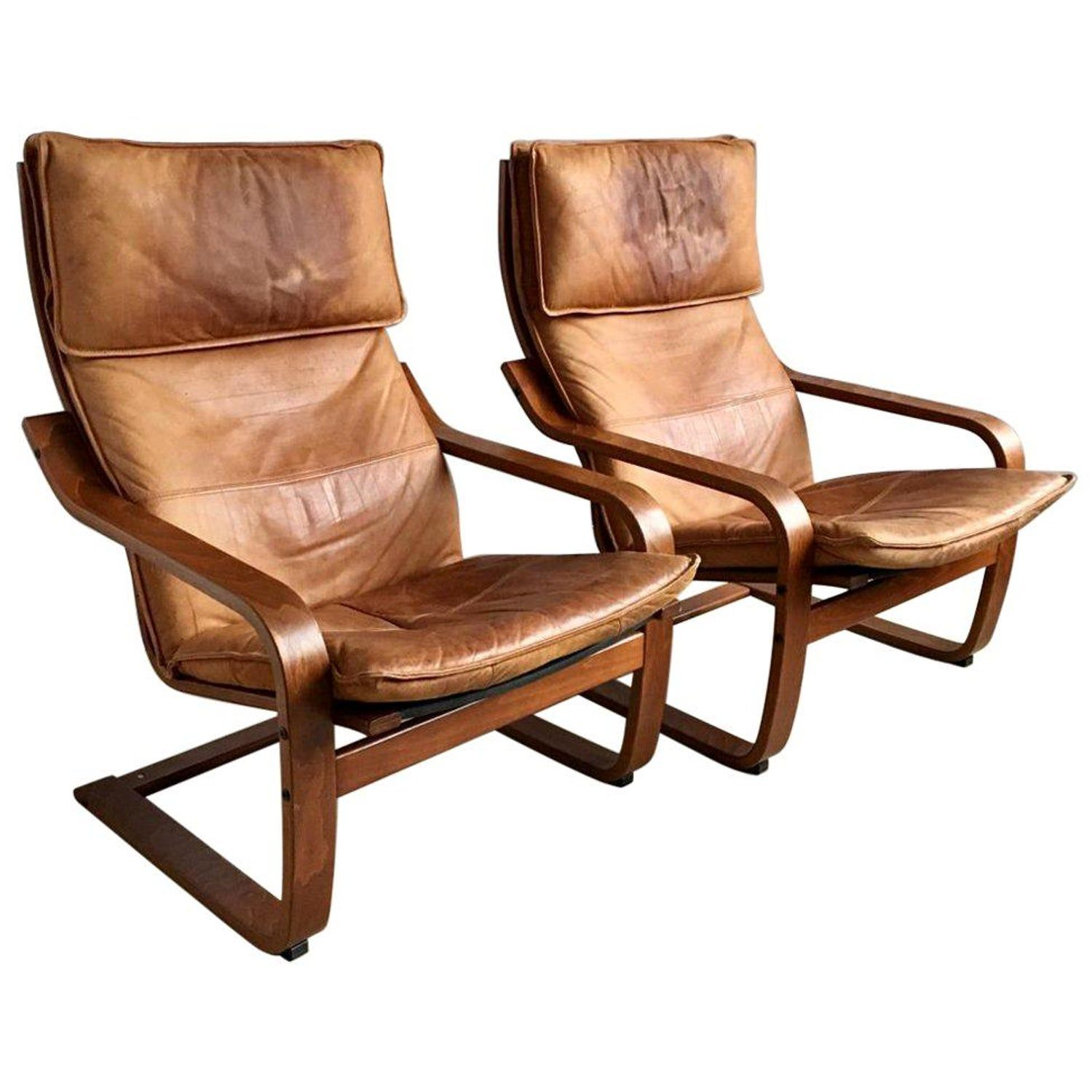 Set Of Two Vintage Cognas Leather Poang Chairs By Noboru Nakamura