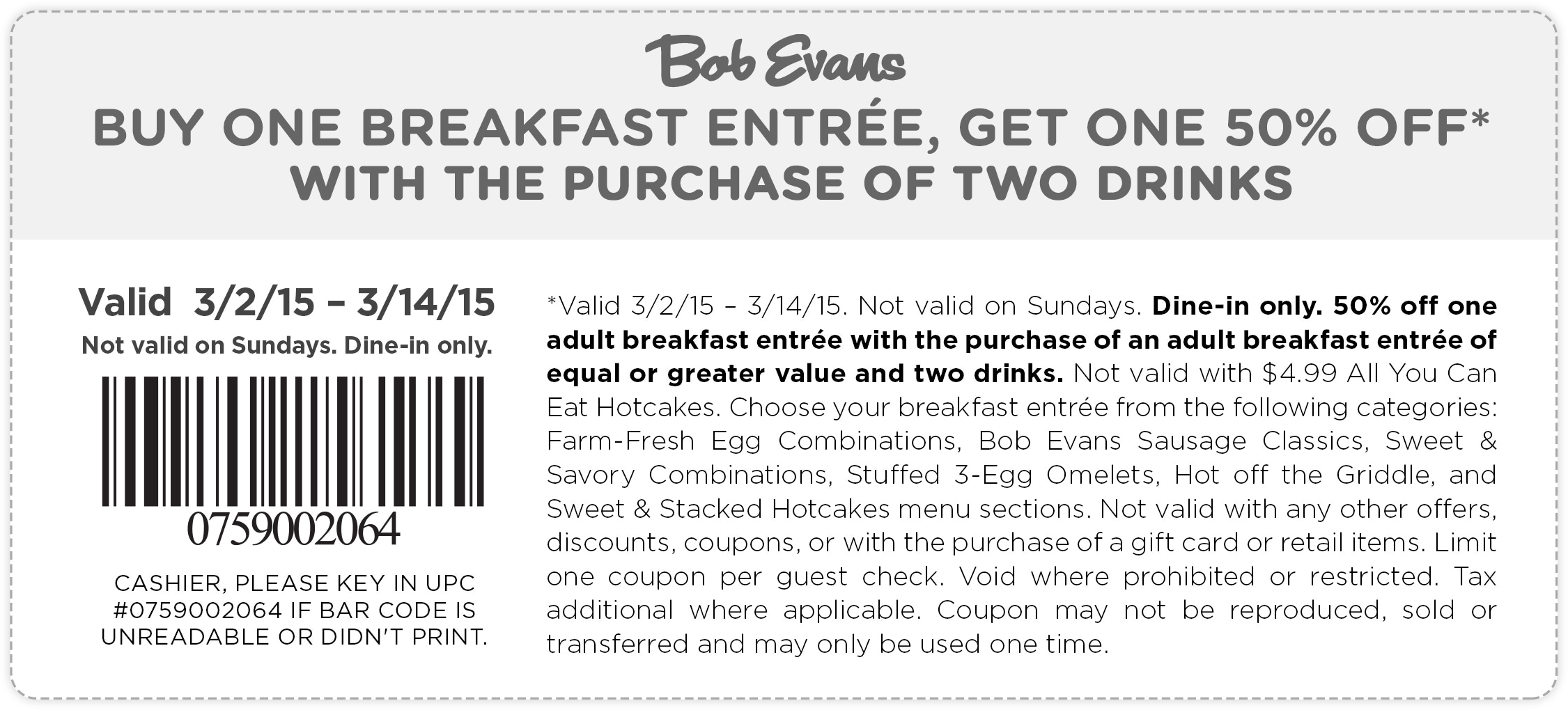 Bob Evans Coupons 50 Off Second Breakfast At Bob Evans Bob Evans Restaurant Coupons Get One