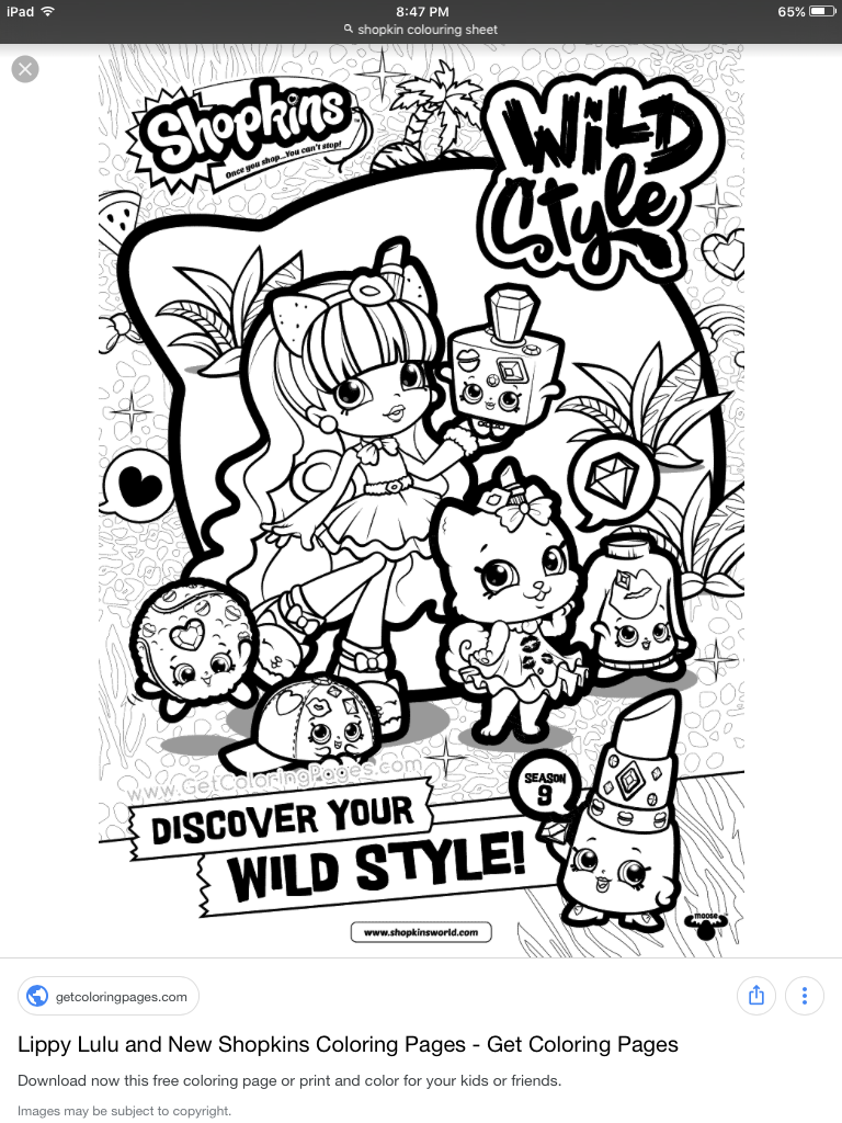 Shopkins Coloring Pages Wild Style on a budget