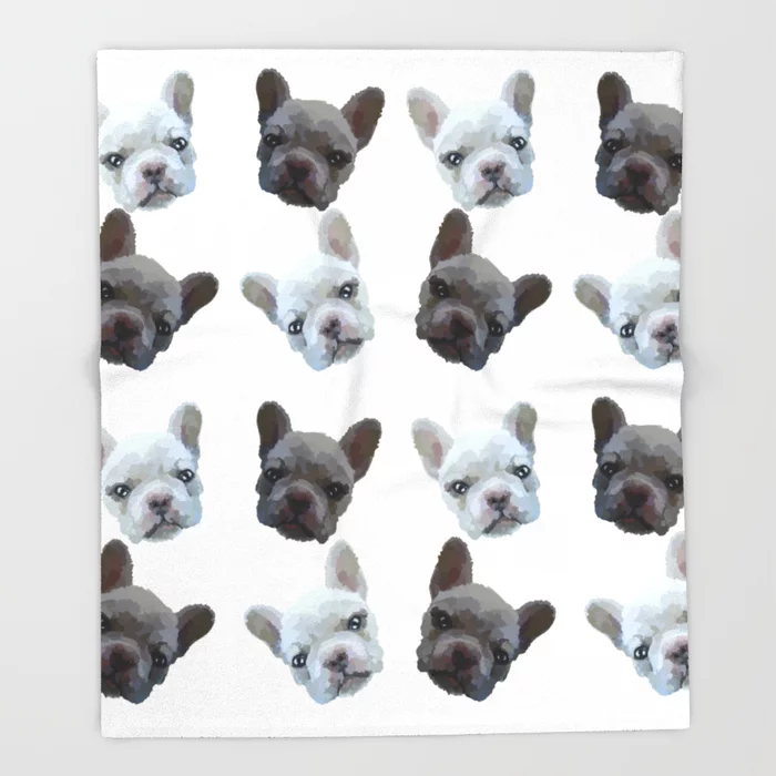 French Bulldog Pattern Black And White No Background Throw Blanket By Misaalodia Society6 Frenchbulldog French Bulldog Bulldog French Bulldog Wallpaper