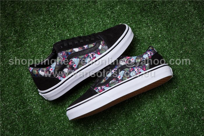 Vans Old Skool Multicolor Print Black AB20 Skateboard Shoes 35 44