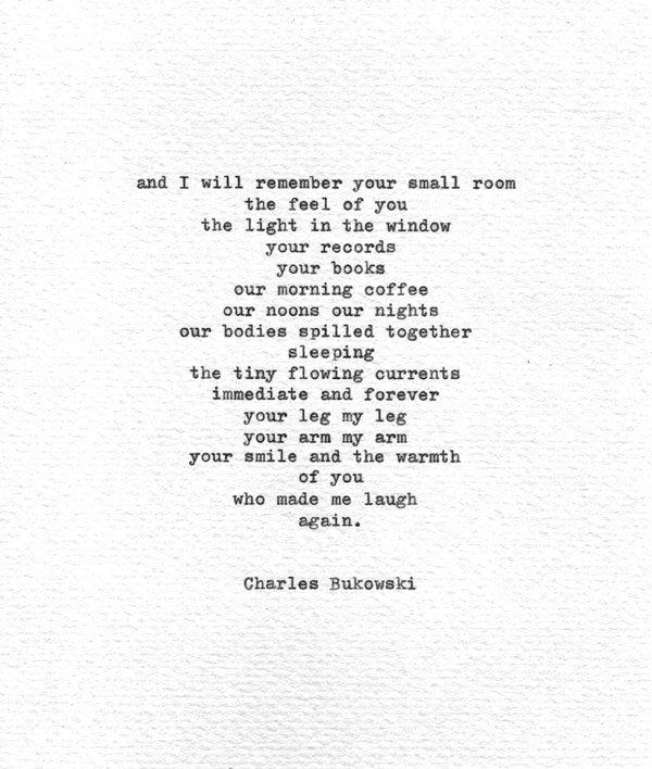 Charles Bukowski Hand Typed Love Poetry