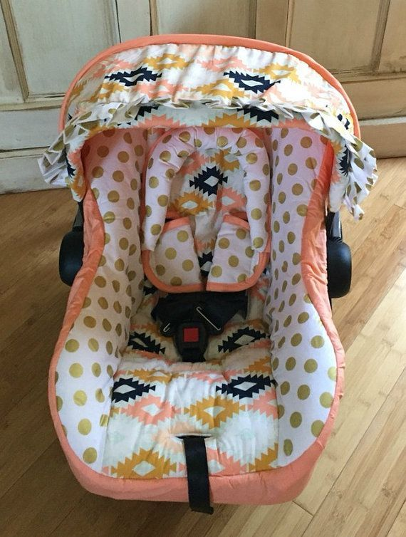 Agave Fields Coral & Gold Custom Infant Car by RitzyBabyOriginal ...