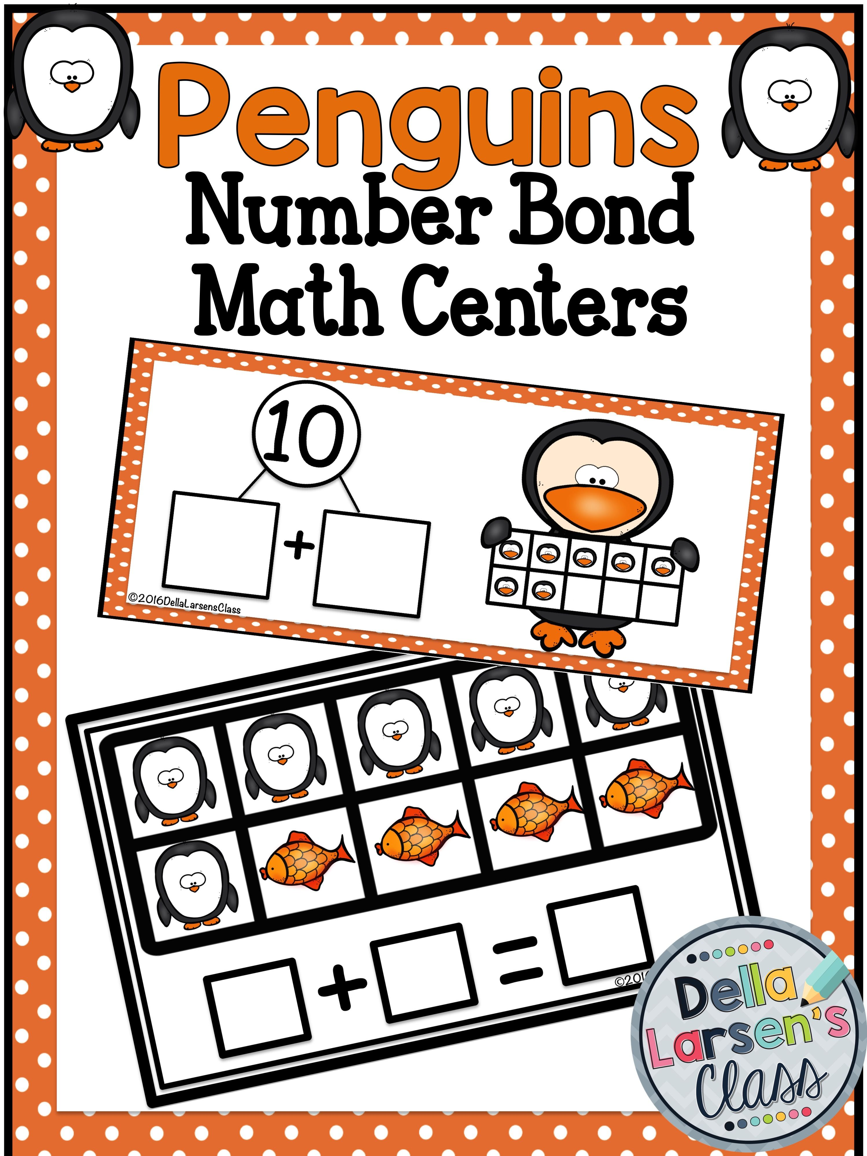 Penguin Number Bond Math Center With No Prep Worksheets
