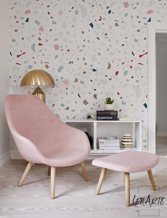 Granite removable wallpaper colorful pattern modern - Easy peel off wallpaper ...