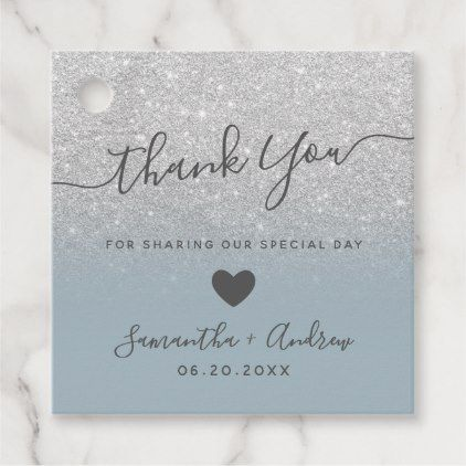 glitter dusty blue thank you wedding favor tags