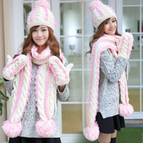 Hand cable knit hat scarf and gloves set for girs hairball decoration