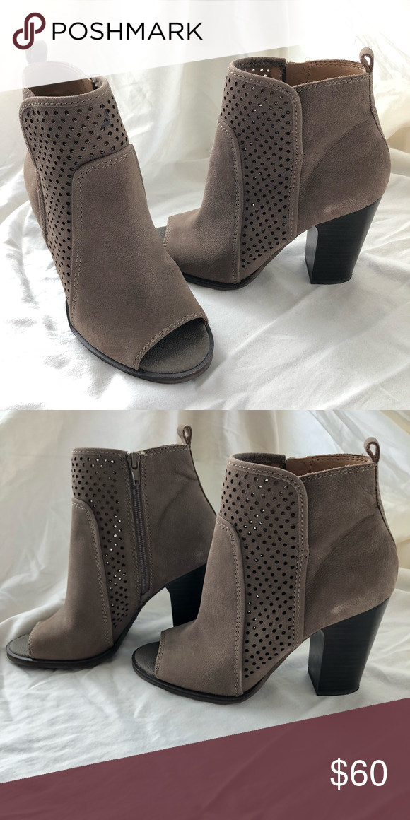 3c068d54de3e Lucky Brand Leather Open Toe Booties Great condition  dark wooden block heel   look great with skinny jeans or dress  worn less than 5 times  ...
