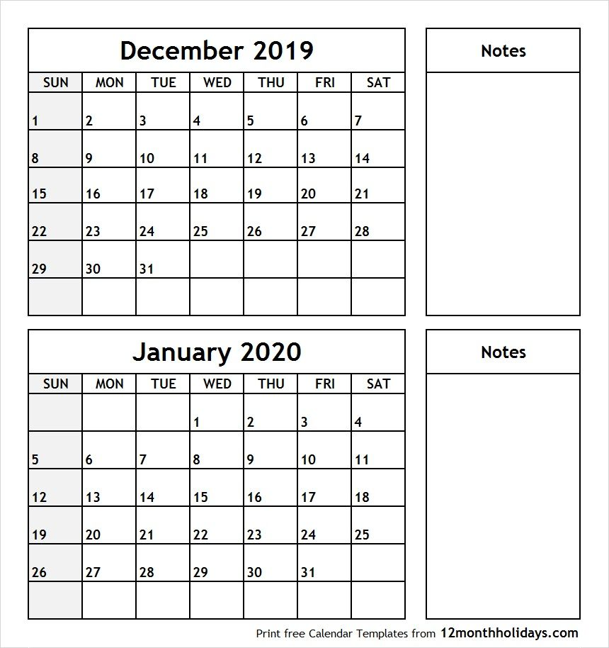 Printable Two Month Calendar December 2019 January 2020 Template