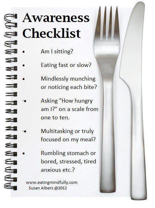 Mindful Eating Awareness Checklist #Mindfulness # ...