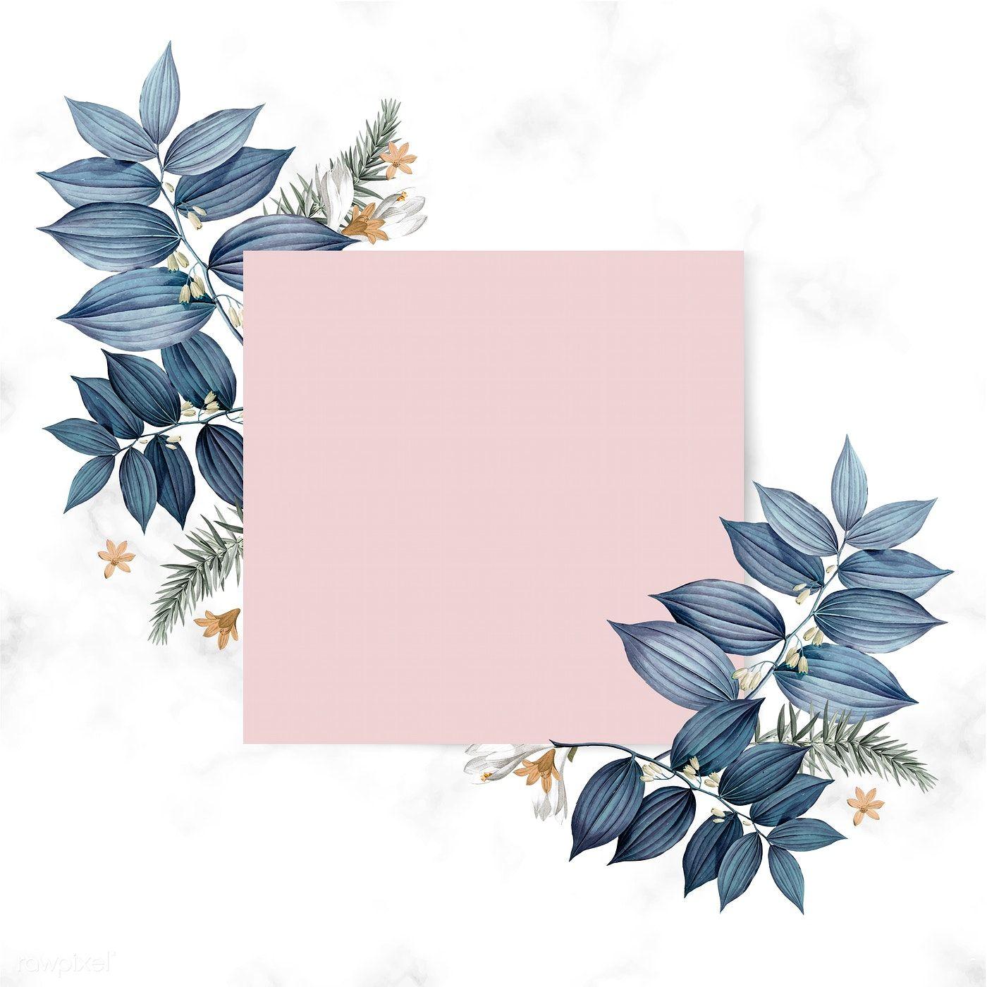 Download Premium Illustration Of Blue Floral Blank Square Card Design Card Design Frame Design Square Card