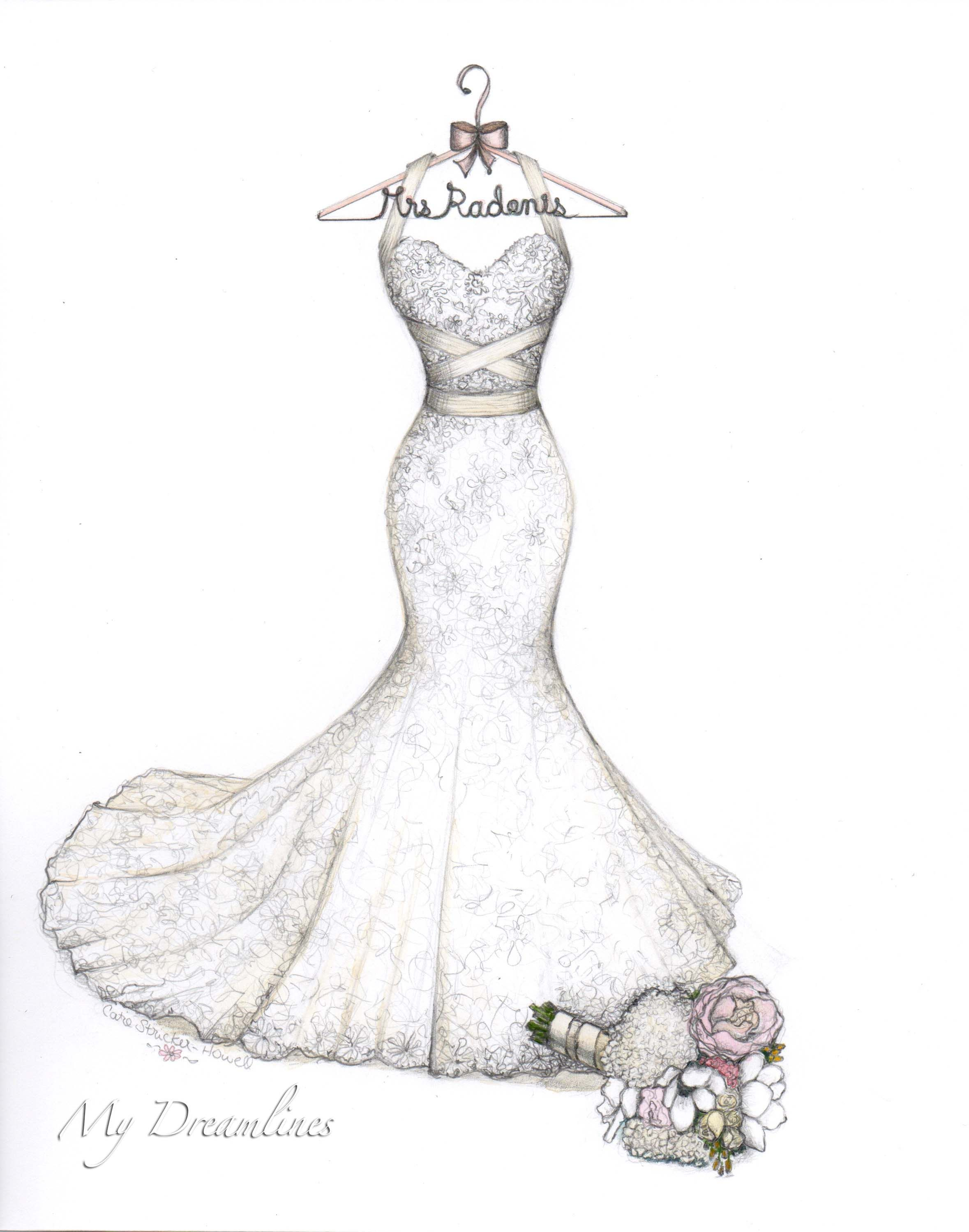 Lace Mermaid Wedding Gown With Wrap Halter Bouquet And Decorative Hanger Sketch By Catie Stricker