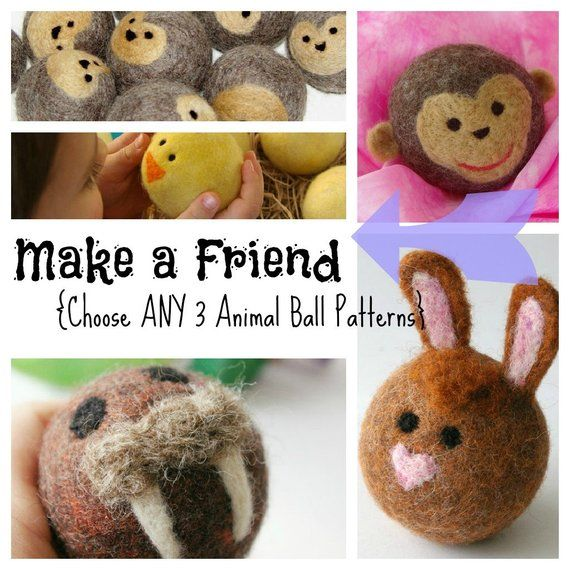 Digital Pattern for Felted Wool Animal Balls: Waldorf Wool Ball Tutorials (Choose any THREE Animal Patterns and Save) #feltedwoolanimals