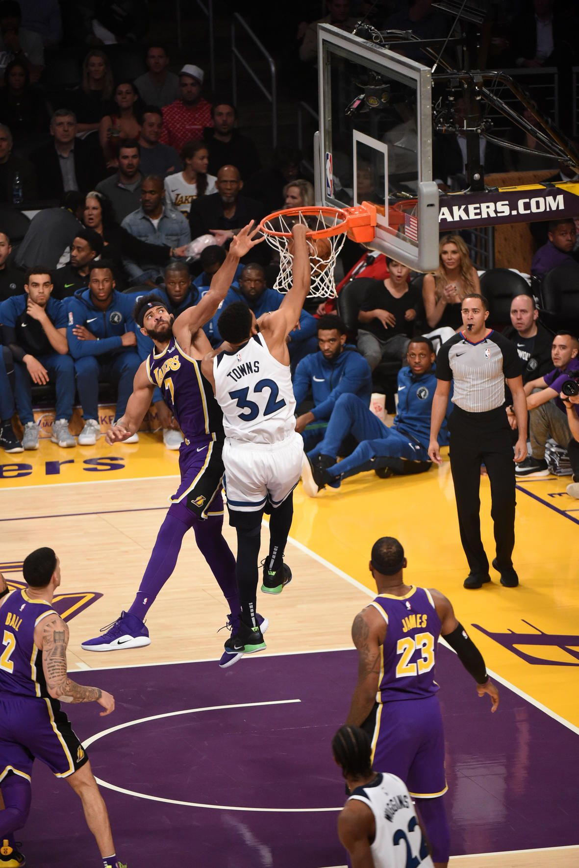 Los Angeles Ca November 7 Karl Anthony Towns 32 Of The Minnesota Timberwolves Dunks The Ball Karl Anthony Towns Minnesota Timberwolves Basketball Pictures