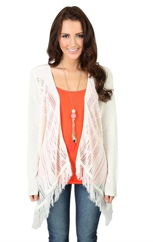 Long Sleeve Waterfall Cozy with Fringe Bottom