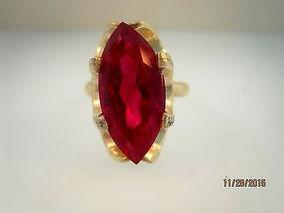 TAXCO Red Marquise Ring Vintage Mexico Sterling Silver Size 7 1/2