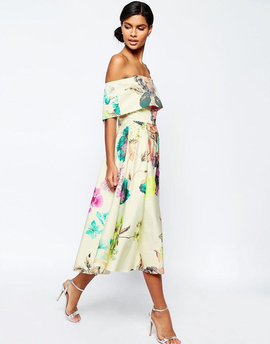 Image 4 of ASOS Premium Off The Shoulder Bardot Midi Prom Dress In ...
