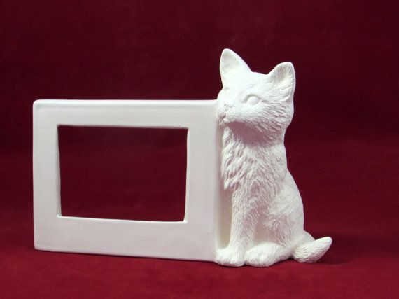 Ceramic Ready To Paint Cat Picture Frame Handmade Ceramic Bisque