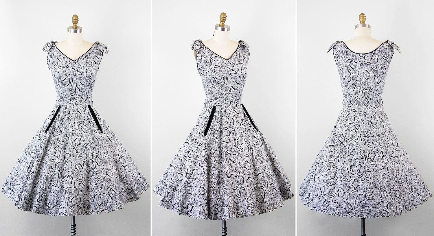 vintage 1950s 50s dress // Black and White by RococoVintage, $168.00