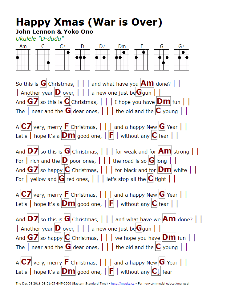 Happy Xmas War Is Over John Lennon Yoko Ono Http Myuke Ca Ukulele Chords Songs Christmas Ukulele Songs Ukulele Songs