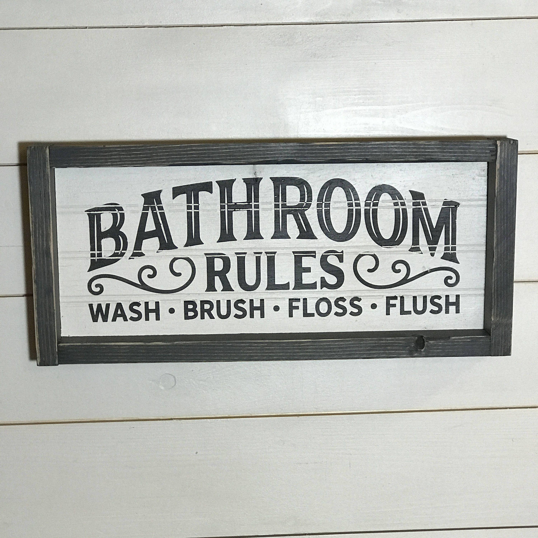Bathroom Rules Wall Decor Farmhouse Style Bathroom Decor Rustic Bathroom Sign Vintage Style Bathroom Bathroom Signs Vintage Signs Decor Vintage Bedroom Styles