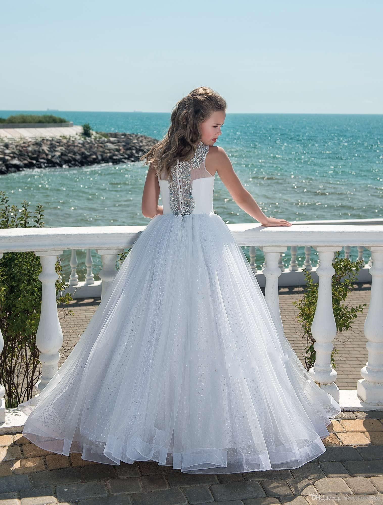 luxury beaded crystal girls pageant dresses with tulle beach