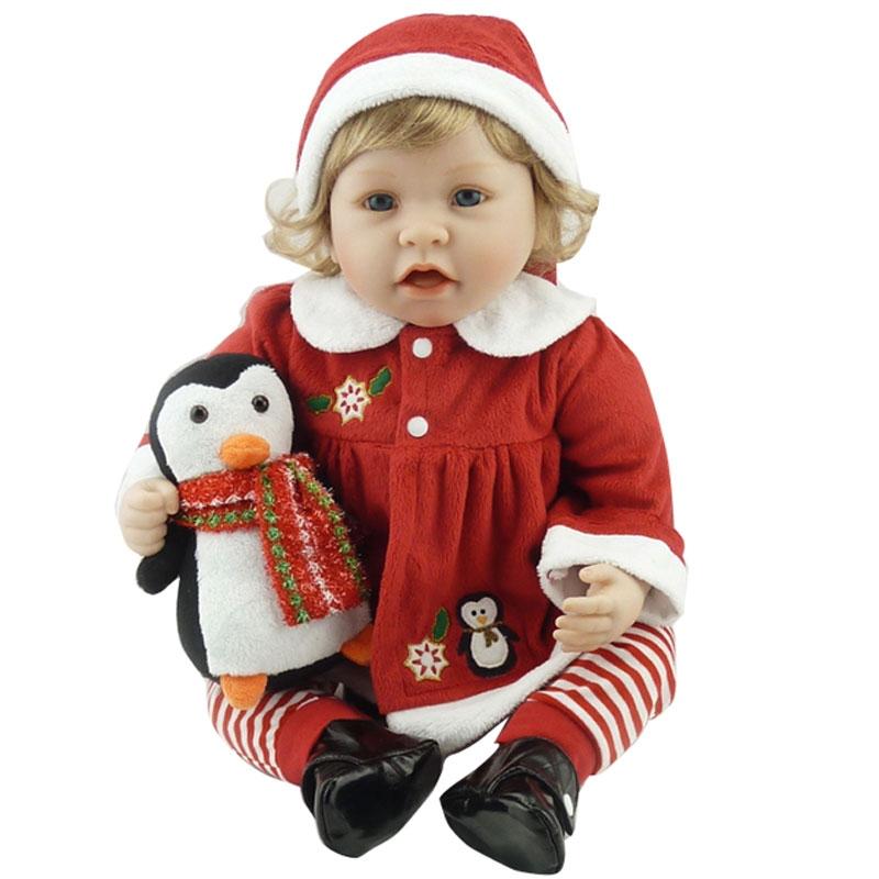 91.20$  Watch now - http://aliwsv.worldwells.pw/go.php?t=32765879956 - Bebe Doll Reborn 22inch Silicone Reborn Dolls Toys 55cm Lifelike Newborn Bonecas Toys Realistic Brinquedos With Plush Penguin 91.20$