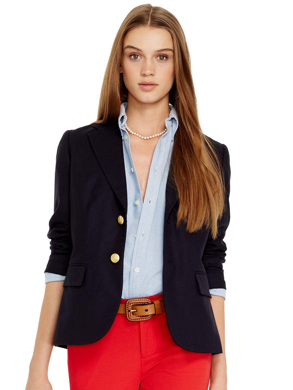 Wool Two-Button Blazer - Jackets Women - RalphLauren.com | Polo Ralph Lauren | Pinterest ...