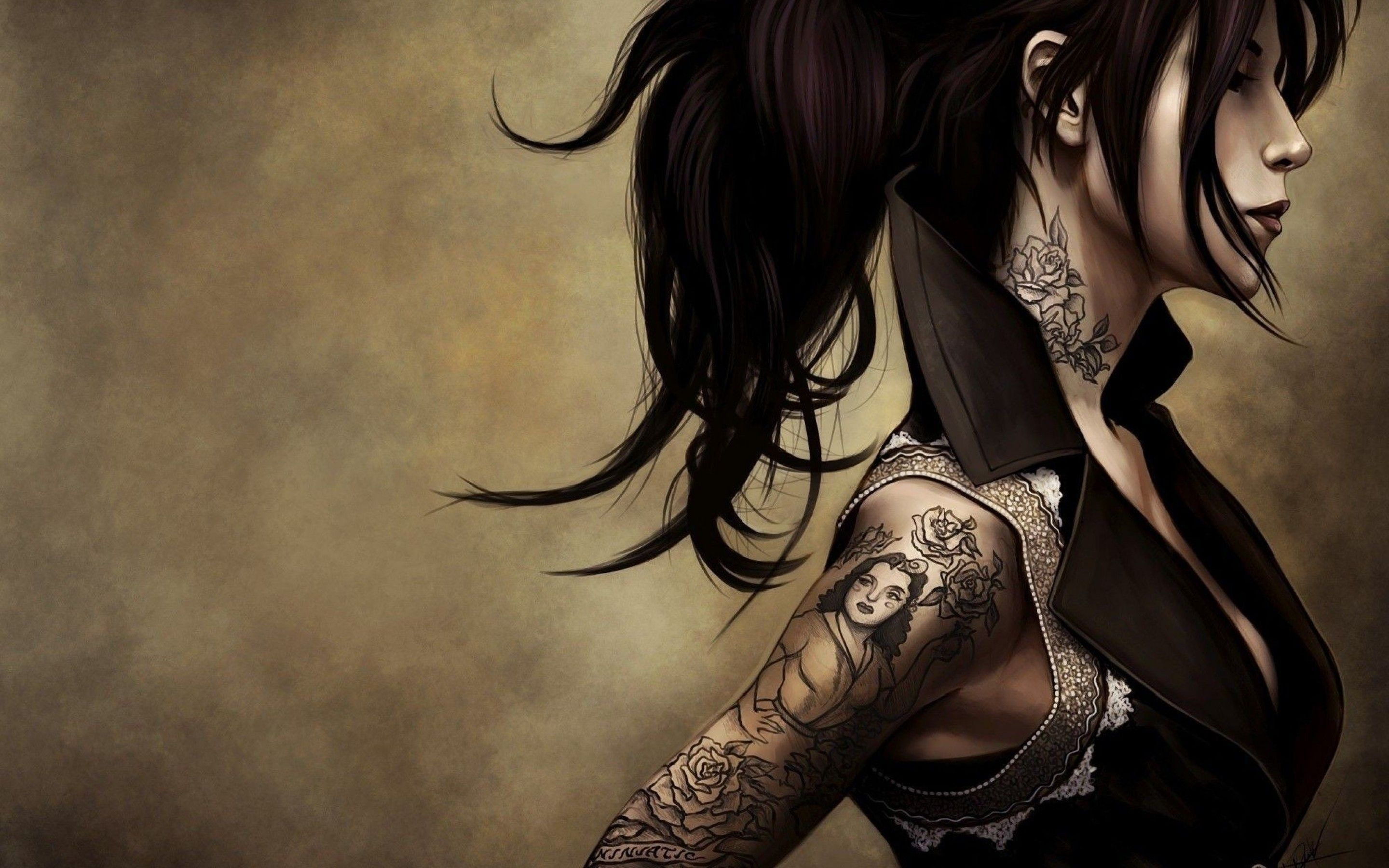 Download Animated Girl Tattoo Art Wallpaper Wide For Desktop .