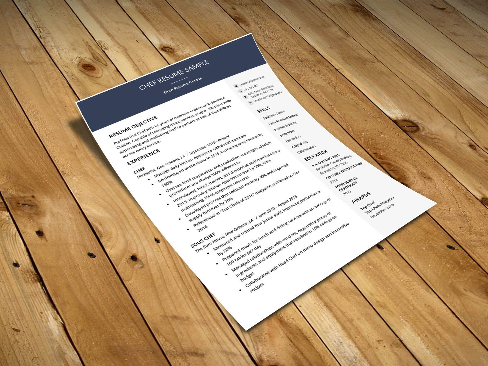 Free chef resume template resume design template chef