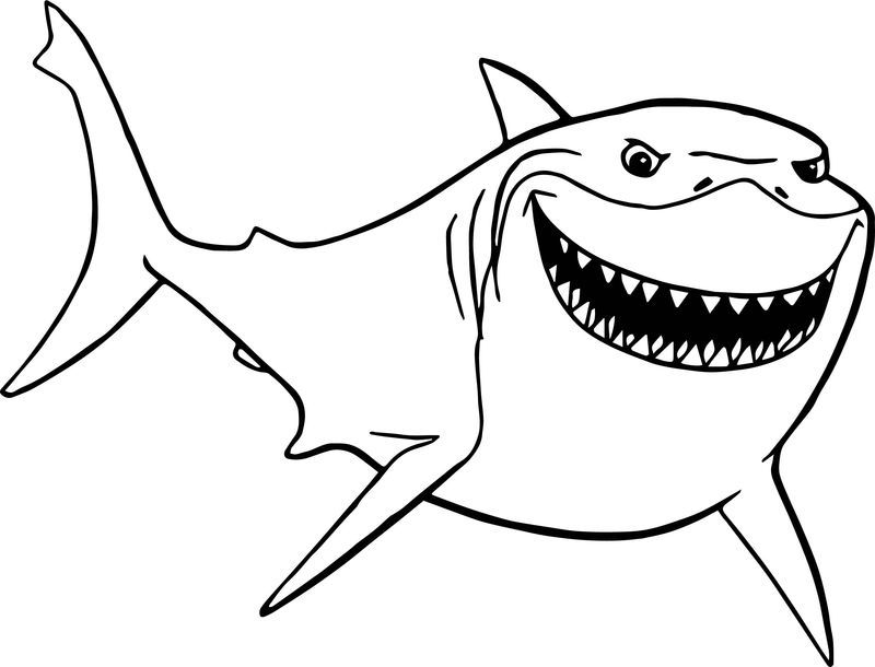 Disney Finding Nemo Bruce Shark Just Coloring Pages (With ...