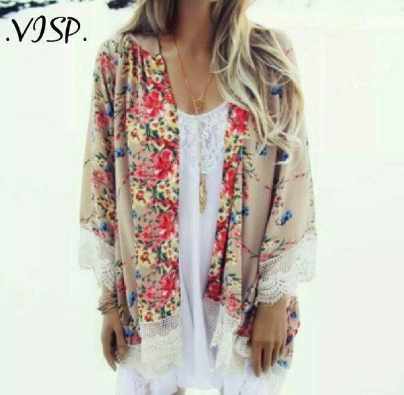 Boho Beach Kimono Cardigan Crochet details on chiffon fabric.  Just long enough to cover your hiney. Batwing boho style. Fits true to size.  MORE ARRIVING JAN 10TH VISP Swim Coverups