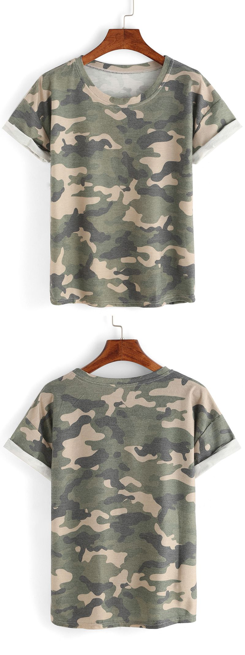 Summer basic tops-Rolled Sleeve Camouflage T-shirt. Soft loose design and ployester material. US$6.99.