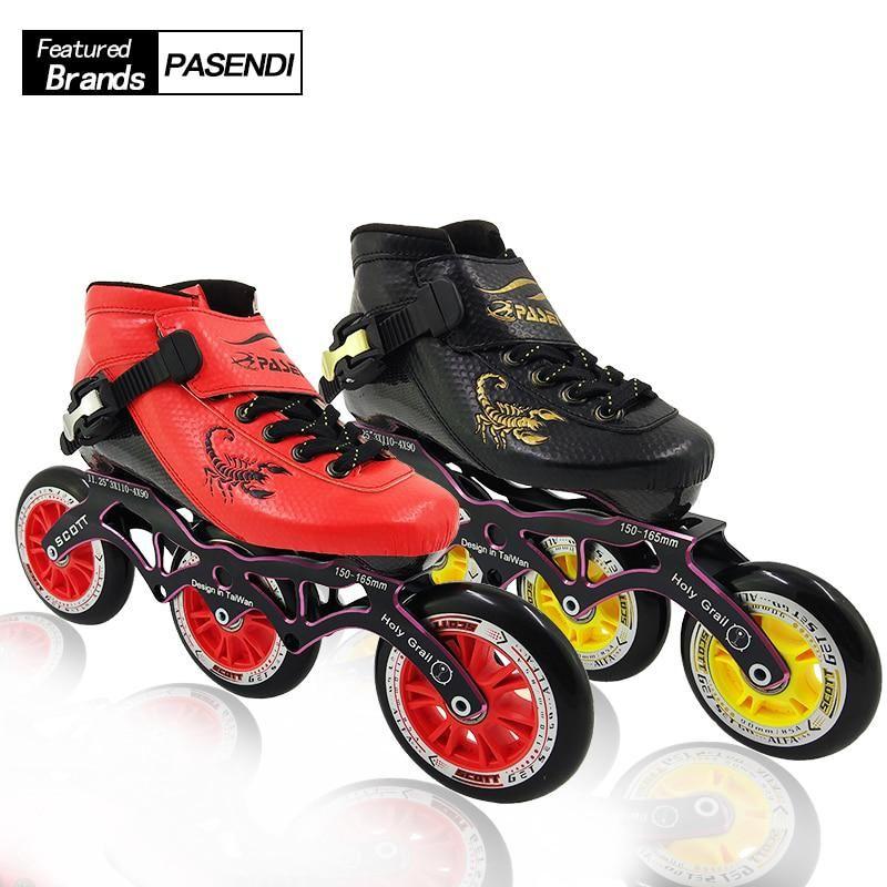 Pasendi Inline Skates Professional Speed Skating Shoes 3 Wheels