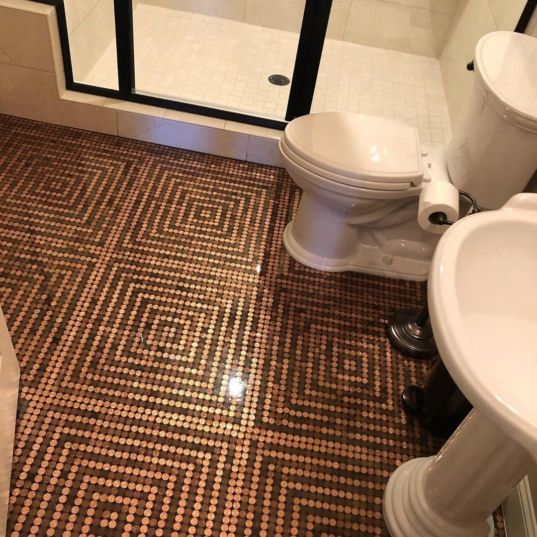 Hello Stacy Phillips On Instagram I Love Our New Penny Floor Every Time I Walk Into Our Guest Bathroom I Am In 2020 Penny Floor Penny Floor Designs Penny Decor