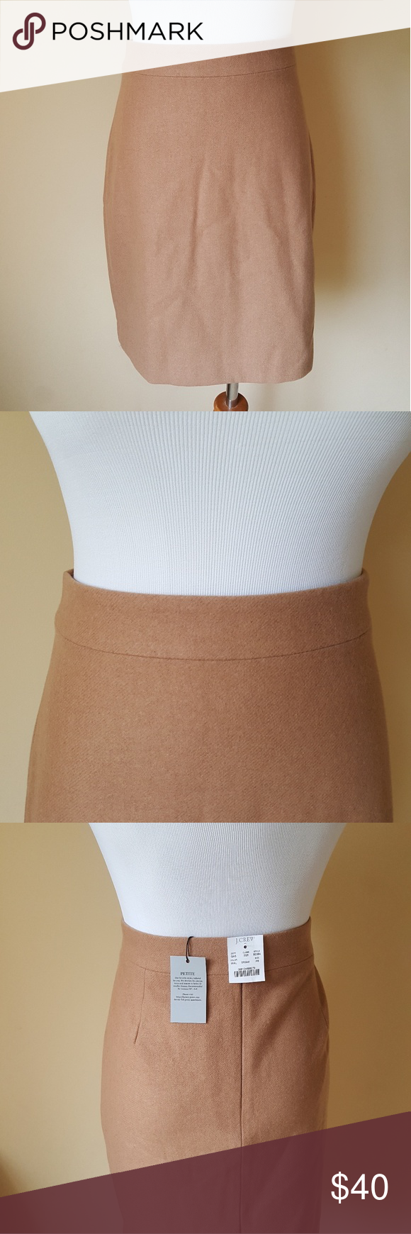New  crew size  pencil skirt camel color chart states width wool viscous lined collection pet and smoke free also nwt my posh picks rh pinterest