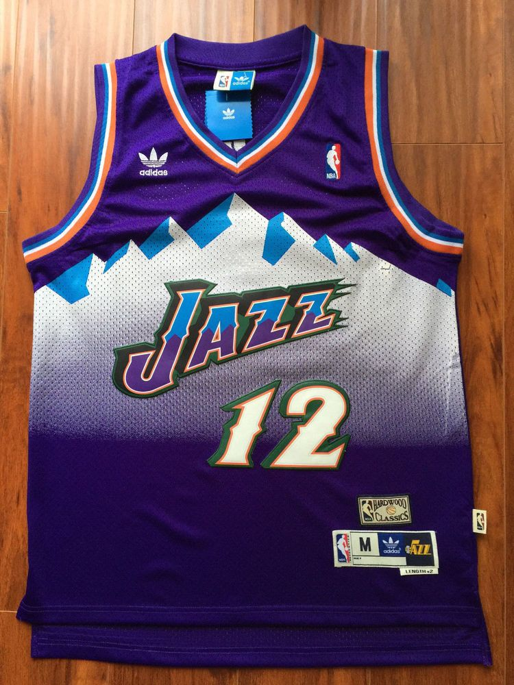 e09d5c213ad ... new zealand john stockton nba utah jazz 12 vintage hardwood classics  sewn purple jersey nwt adidas
