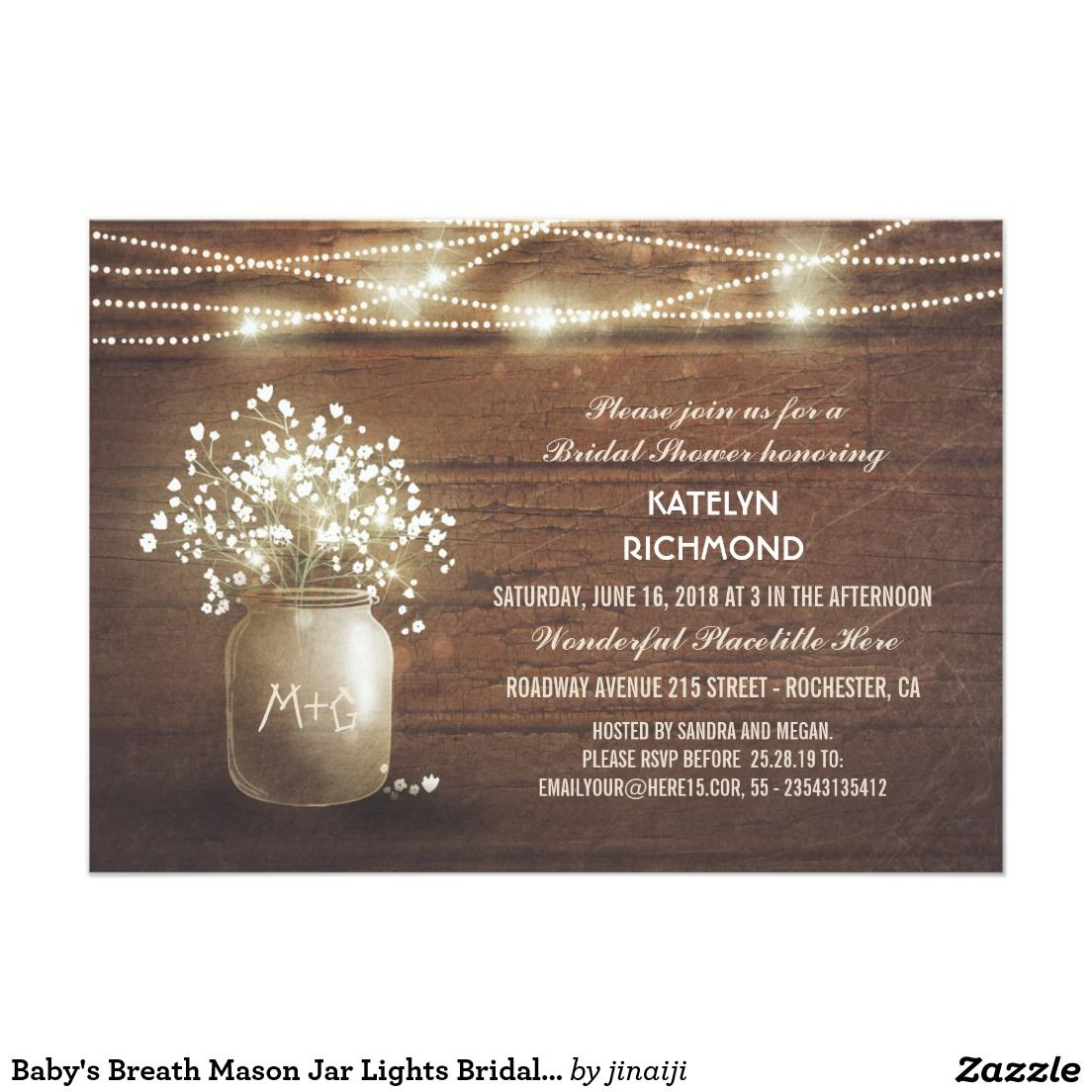 Baby S Breath Mason Jar Lights Bridal Shower Card Bridal Shower