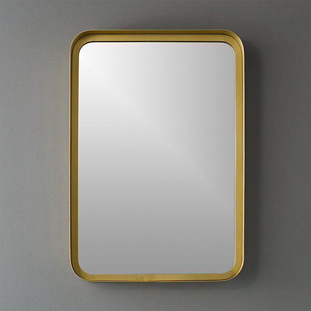 Brass Rectangle Bathroom Mirror