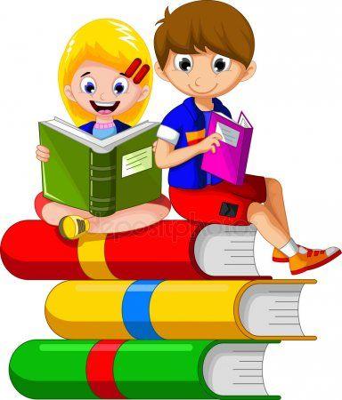 Nino Leyendo Libro Mientras Sentado En La Pila De Libros Otros Dibujos Animados De Diseno Kids Reading Books Sunday School Crafts For Kids School Wall Art