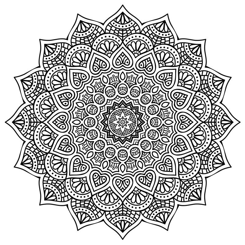 High Resolution Mandala Coloring For Stress Relief Free Download PDF Format Happiness Never