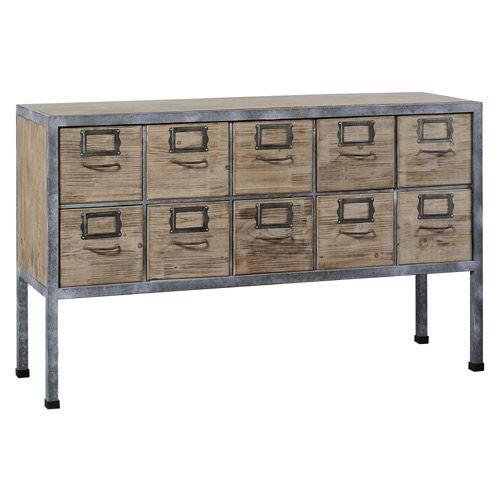 Buffet 10 tiroirs Loft en bois et métal Jardin d\'Ulysse- 135.42.81 ...