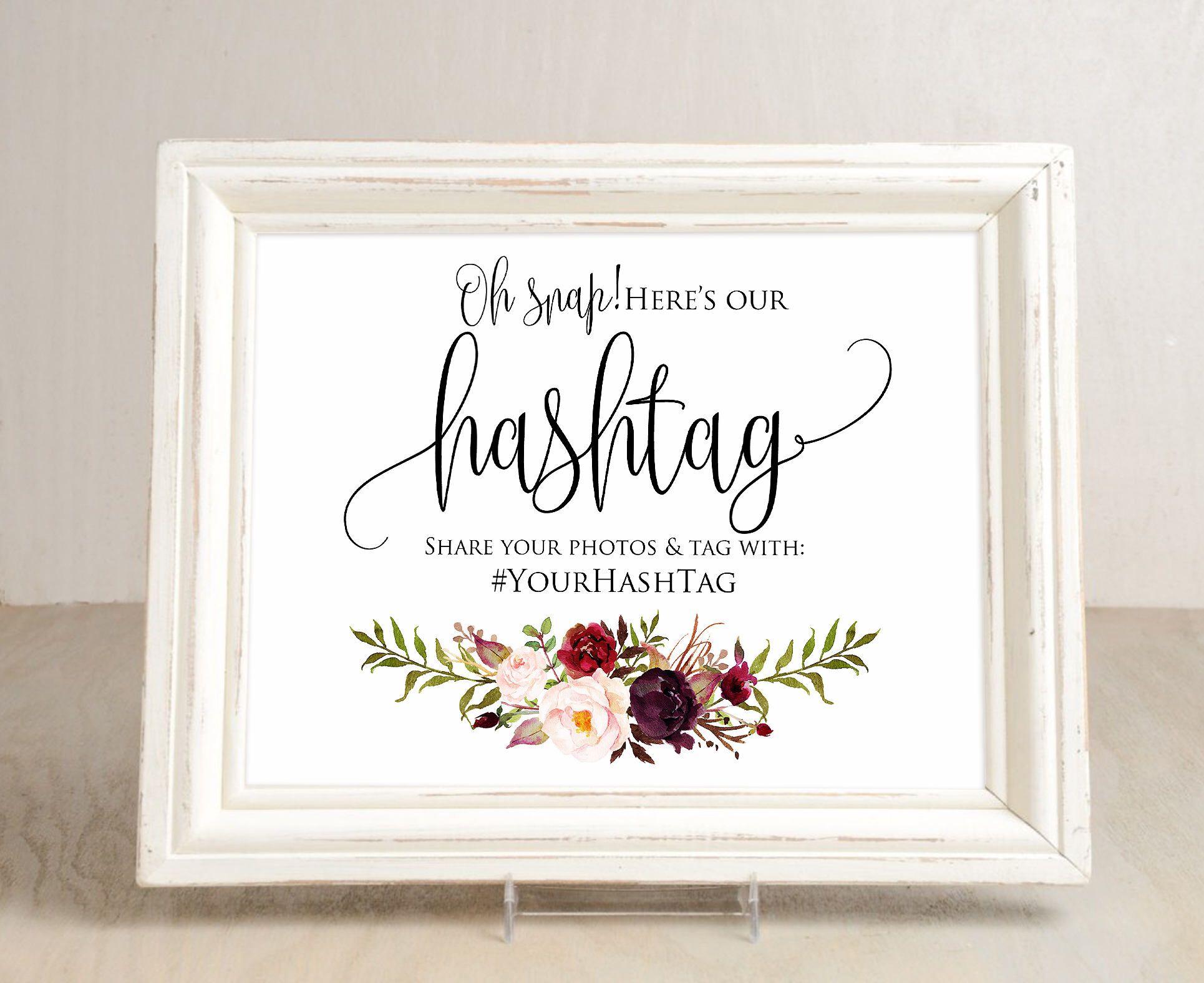 Hashtag Wedding Sign, Wedding Hashtag Sign, Your Hashtag