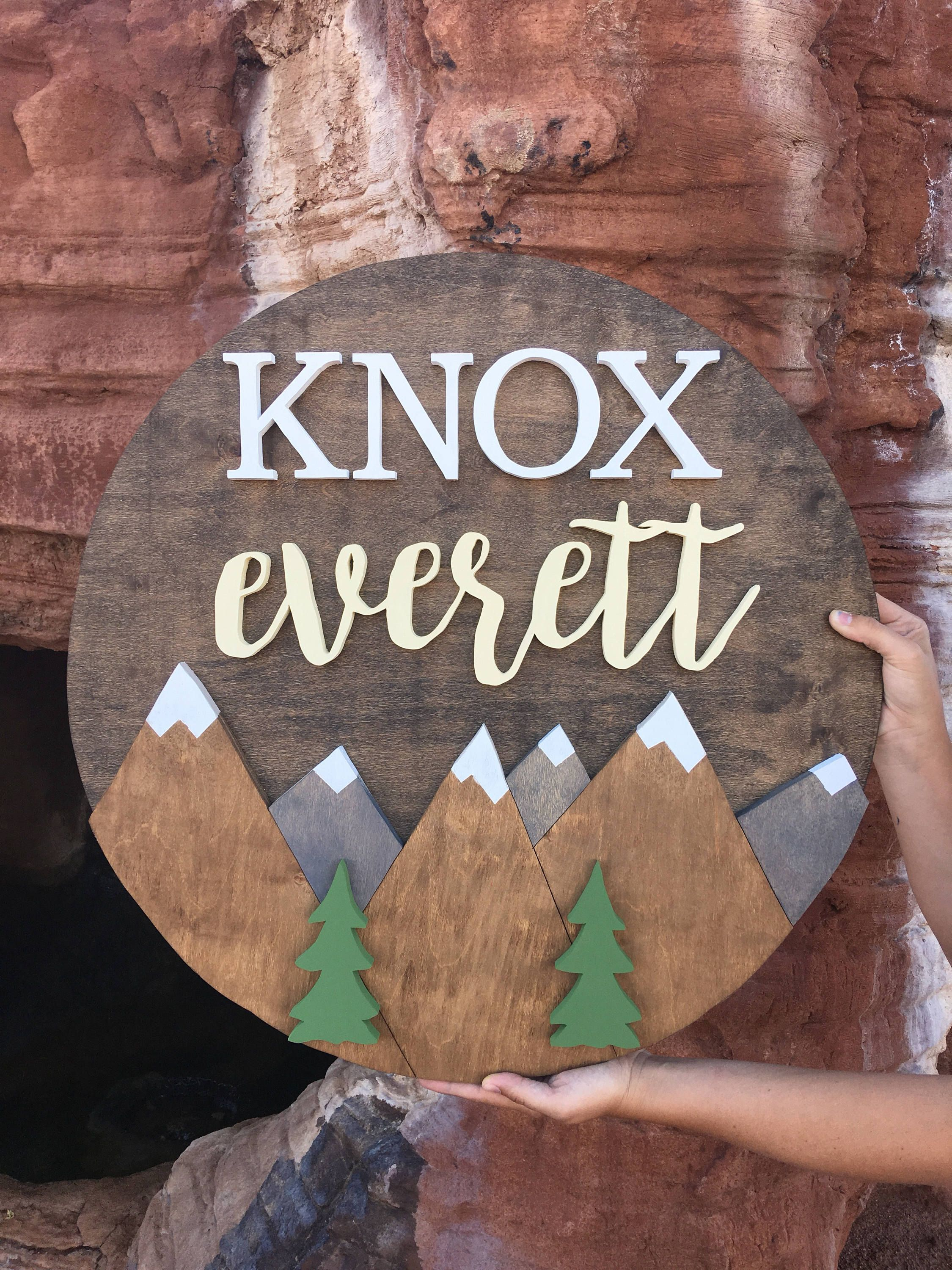 24 Inch Round Custom Name Sign With Mountains Nursery Wood Cut Out Decor Baby Wall Hangin