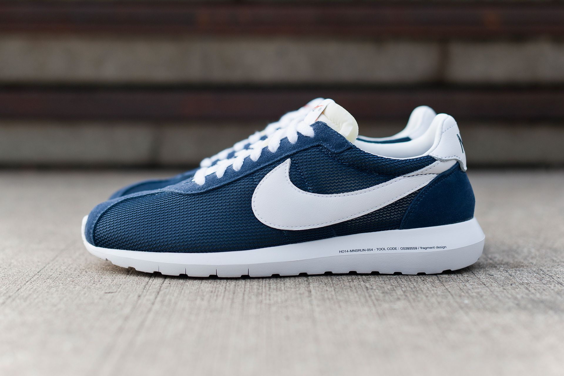 Nike Roshe Courir Fragment Chaussures Hommes Jeans Bleu Blanc Chaud