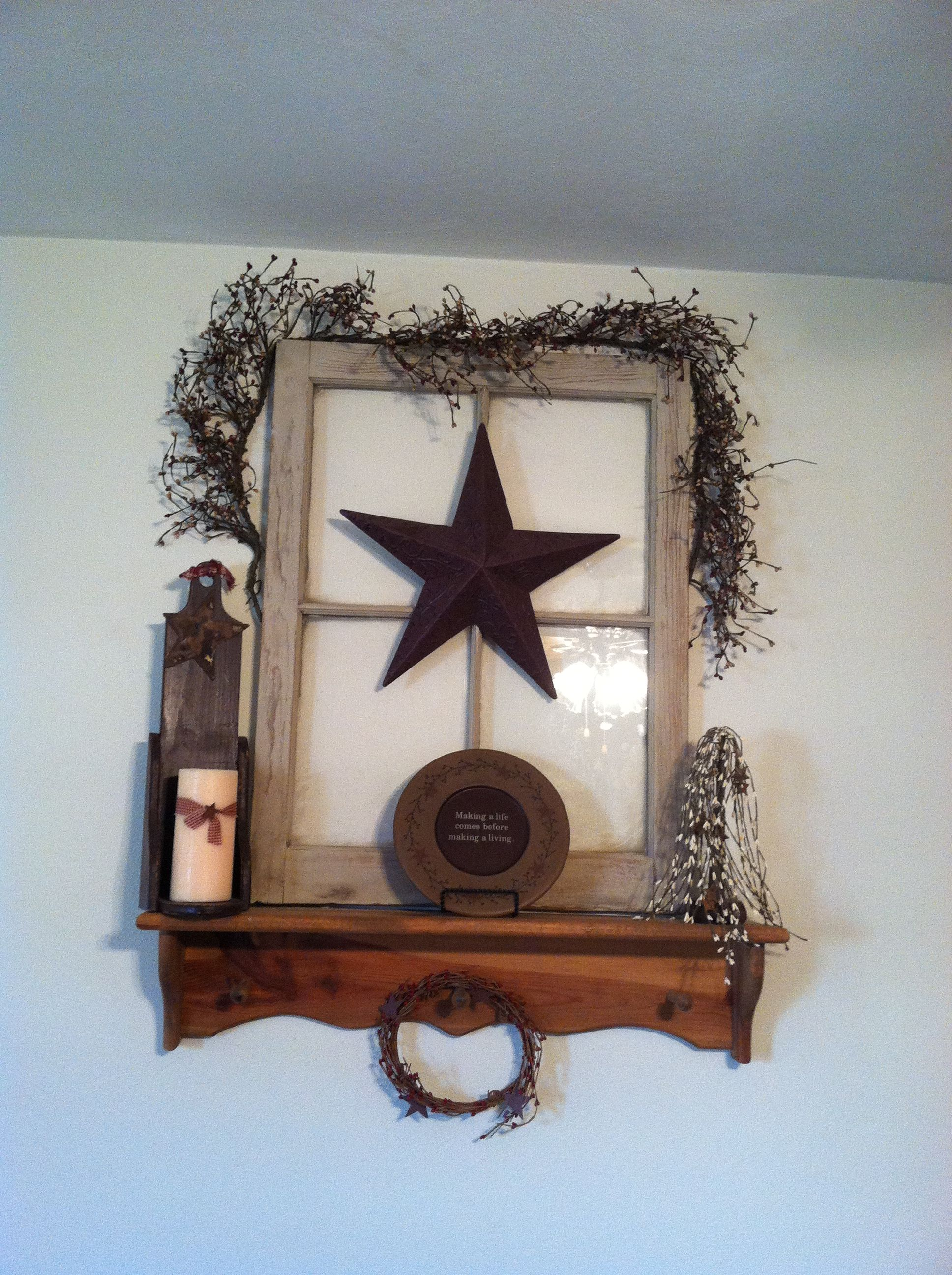 old window primitive decor mantel decorating ideas
