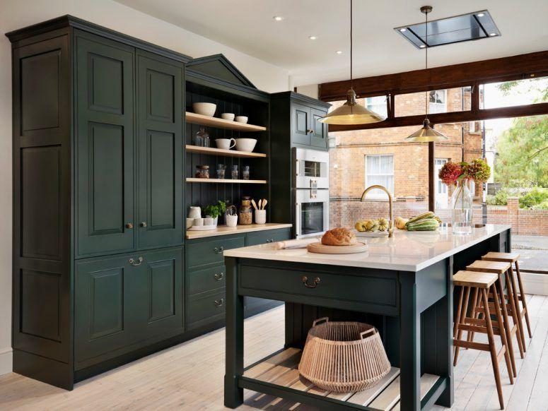 125 Awesome Kitchen Island Design Ideas Green Kitchen Cabinets Dark Green Kitchen Black Kitchen Cabinets