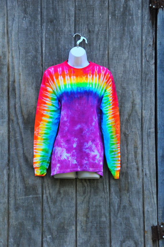 High rainbow pattern tie dye shirt adult medium for Tie dye t shirt patterns