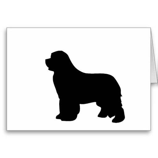 Newfoundland dog greetings card, black silhouette card ...